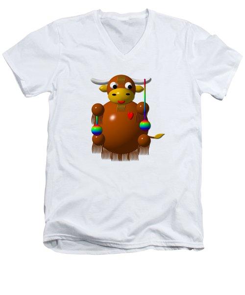 Cute Yak With Yo Yos Men's V-Neck T-Shirt by Rose Santuci-Sofranko