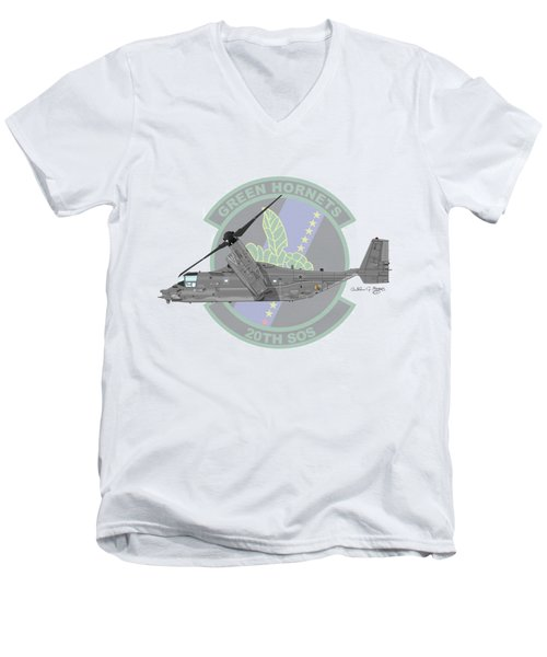 Cv-22b Osprey 20sos Men's V-Neck T-Shirt by Arthur Eggers