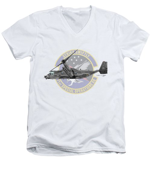 Cv-22b Osprey 71sos Men's V-Neck T-Shirt by Arthur Eggers