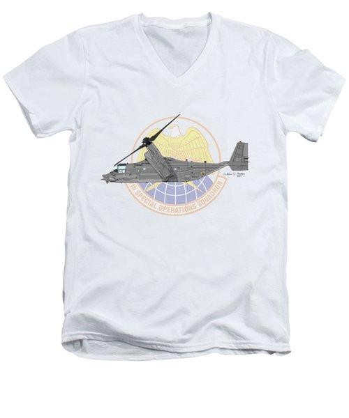 Cv-22b Osprey 7sos Men's V-Neck T-Shirt by Arthur Eggers