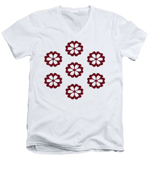 Cyber Flower Red Men's V-Neck T-Shirt by Daniel Hagerman