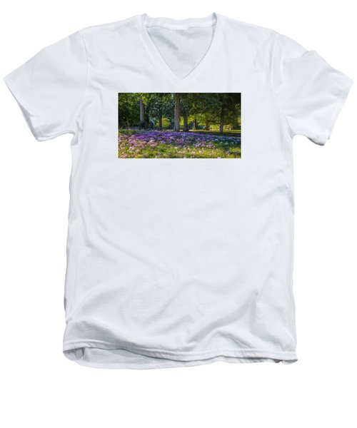 Cyclamen Under Trees Men's V-Neck T-Shirt