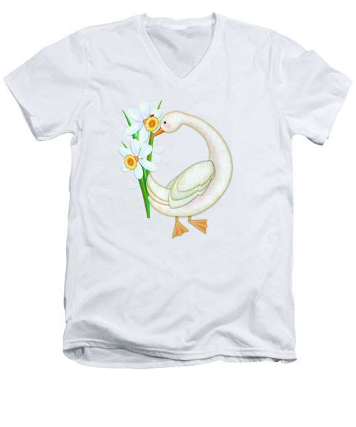D Is For Duck And Daffodils Men's V-Neck T-Shirt