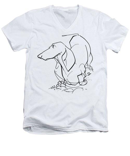 Dachshund Gesture Sketch Men's V-Neck T-Shirt