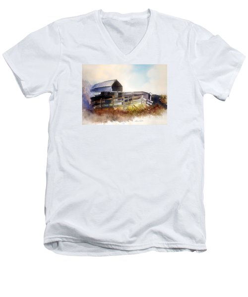 Men's V-Neck T-Shirt featuring the painting Dad' Farmhouse by Allison Ashton