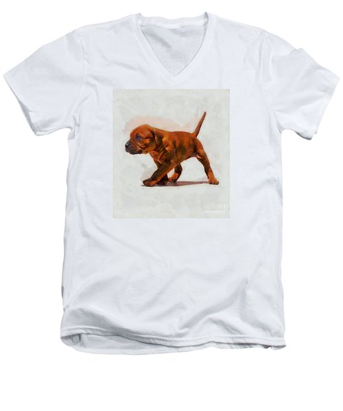 Men's V-Neck T-Shirt featuring the photograph Daddies Girl by John  Kolenberg
