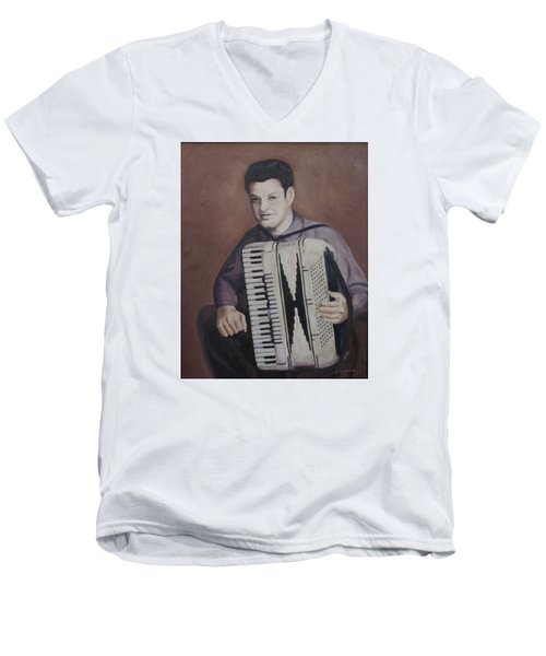 Daddy And His Accordion Men's V-Neck T-Shirt