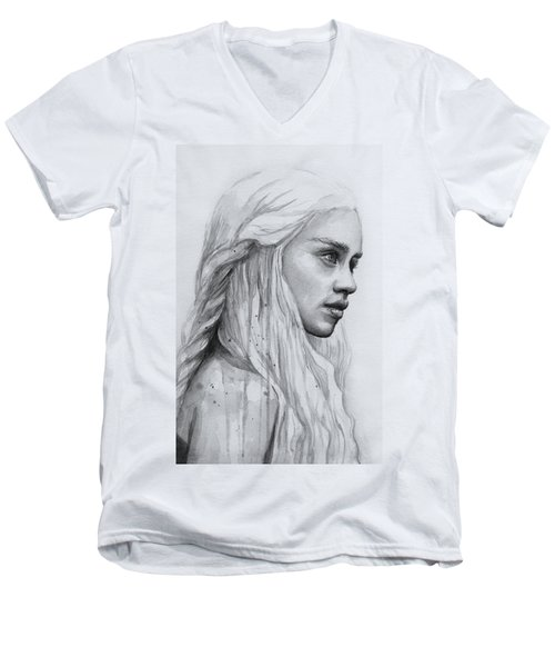 Daenerys Watercolor Portrait Men's V-Neck T-Shirt by Olga Shvartsur
