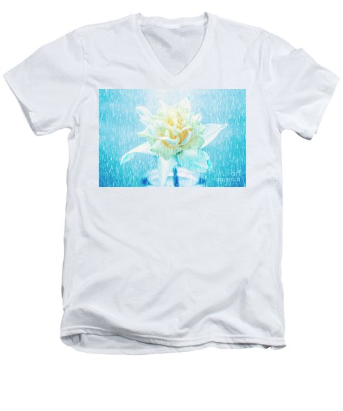 Men's V-Neck T-Shirt featuring the photograph Daffodil Flower In Rain. Digital Art by Jorgo Photography - Wall Art Gallery