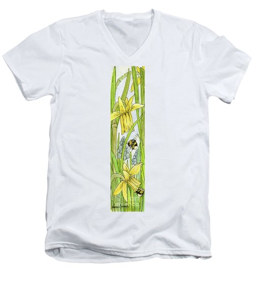 Daffodils And Bees Men's V-Neck T-Shirt
