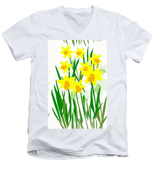 Daffodils Drawing Men's V-Neck T-Shirt