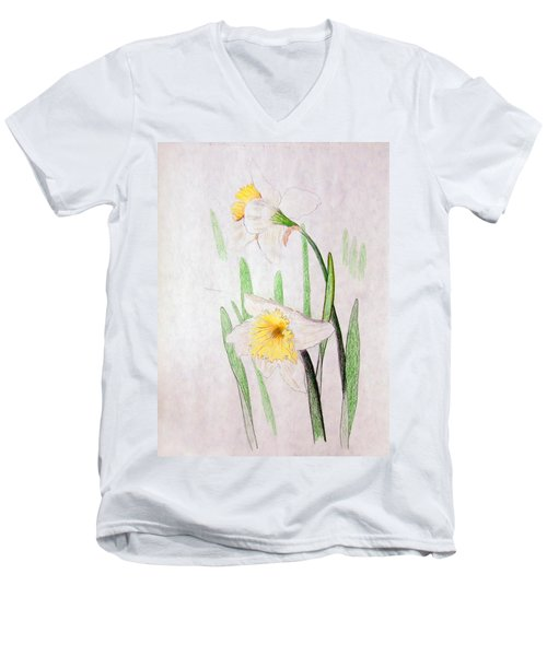 Daffodils Men's V-Neck T-Shirt by J R Seymour