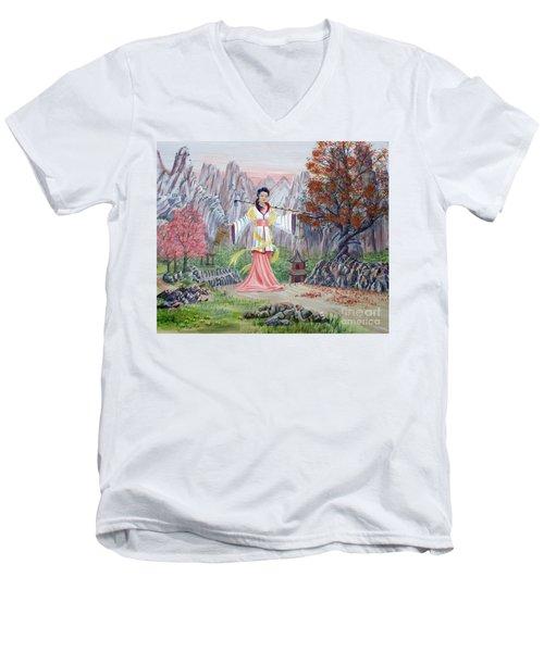 Dai Yuu Men's V-Neck T-Shirt by Anthony Lyon