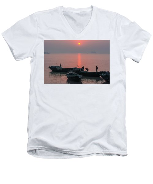 Daily Chores On The River Men's V-Neck T-Shirt