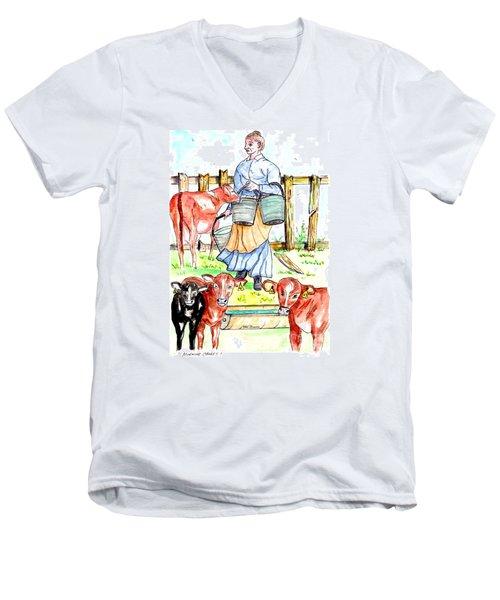 Daily Chores Men's V-Neck T-Shirt by Philip Bracco