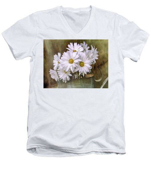 Men's V-Neck T-Shirt featuring the photograph Daisies In Antique Watering Can by Bellesouth Studio