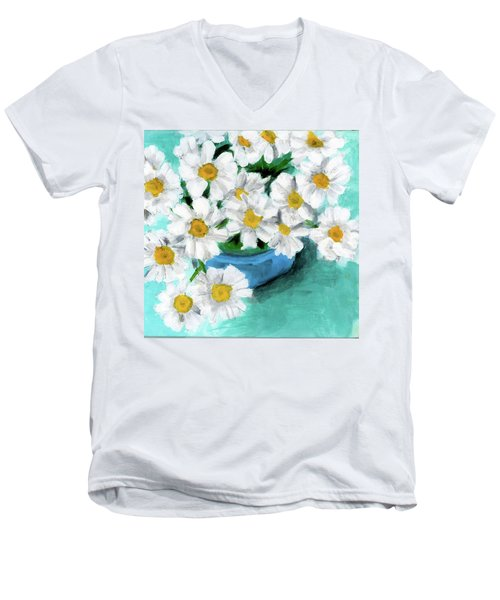 Daisies In Blue Bowl Men's V-Neck T-Shirt