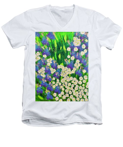 Daisy And Glads Men's V-Neck T-Shirt by George Riney
