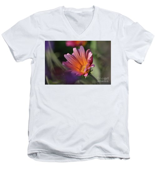 Men's V-Neck T-Shirt featuring the photograph Daisy At Dusk by Debby Pueschel