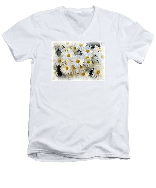 Daisy Bouquet Men's V-Neck T-Shirt by Carol Sweetwood