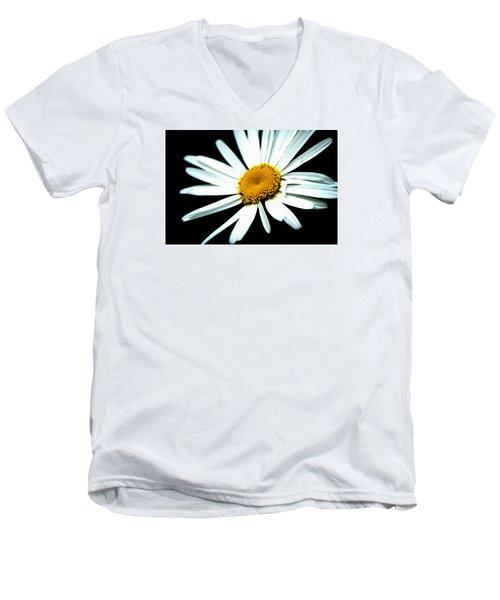 Men's V-Neck T-Shirt featuring the photograph Daisy Flower - White Sun by Alexander Senin