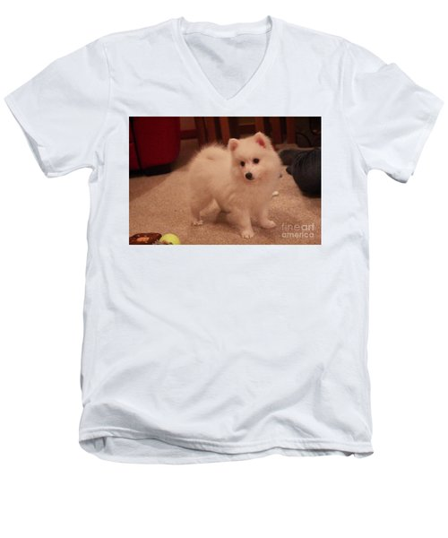 Men's V-Neck T-Shirt featuring the photograph Daisy - Japanese Spitz by David Grant