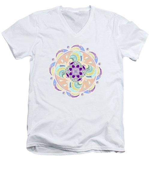 Daisy Lotus Meditation Men's V-Neck T-Shirt by Deborah Smith