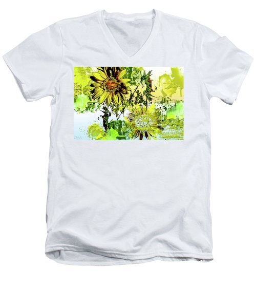 Sunflower On Water Men's V-Neck T-Shirt by Deborah Nakano