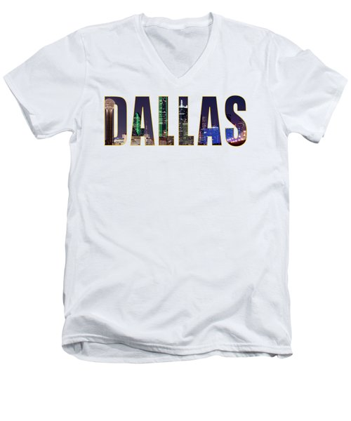 Dallas Letters Transparency 013018 Men's V-Neck T-Shirt