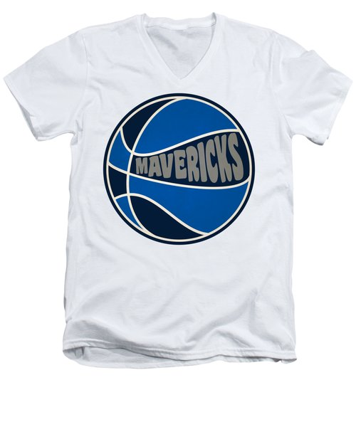 Men's V-Neck T-Shirt featuring the photograph Dallas Mavericks Retro Shirt by Joe Hamilton