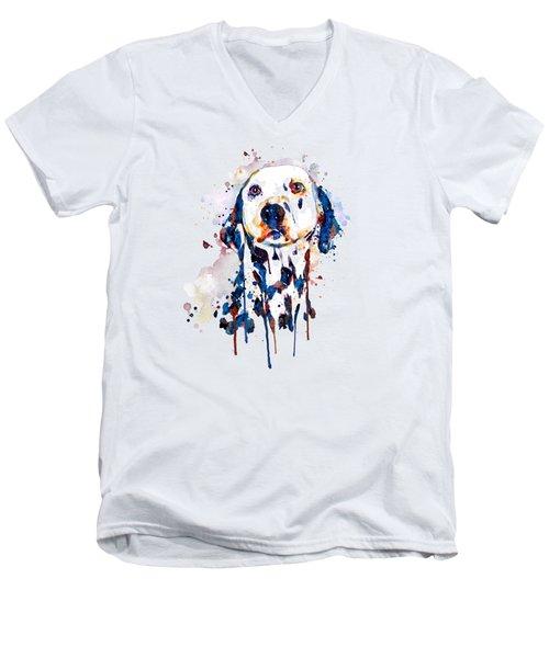 Dalmatian Head Men's V-Neck T-Shirt by Marian Voicu
