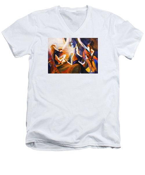 Men's V-Neck T-Shirt featuring the painting Dance Of The Druids by Georg Douglas