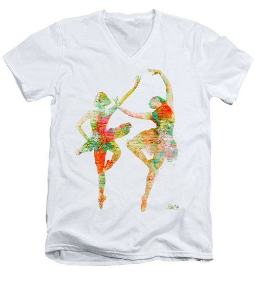 Men's V-Neck T-Shirt featuring the digital art Dance With Me by Nikki Smith