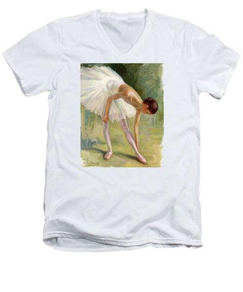 Dancer Adjusting Her Slipper. Men's V-Neck T-Shirt