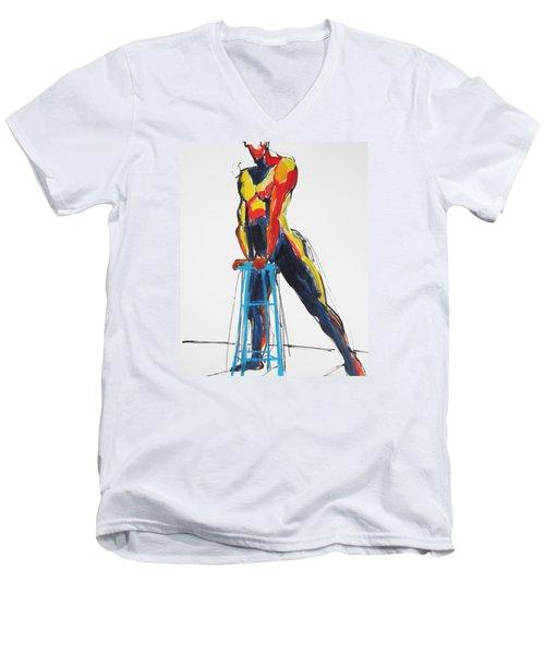 Dancer With Drafting Stool Men's V-Neck T-Shirt