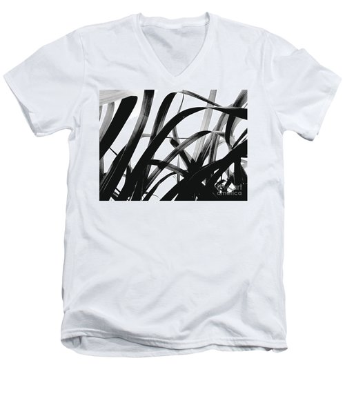 Dancing Bamboo Black And White Men's V-Neck T-Shirt by Rebecca Harman