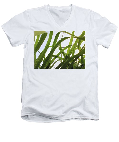 Men's V-Neck T-Shirt featuring the photograph Dancing Bamboo by Rebecca Harman