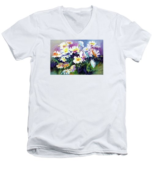 Men's V-Neck T-Shirt featuring the painting Dancing Daisies by Kathy Braud