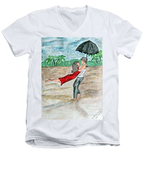 Men's V-Neck T-Shirt featuring the painting Dancing In The Rain On The Beach by Kathy Marrs Chandler