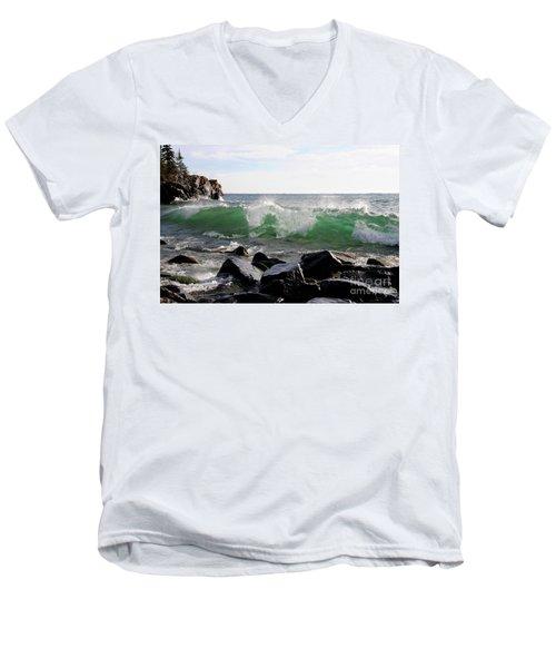 Dancing Waves Men's V-Neck T-Shirt by Sandra Updyke