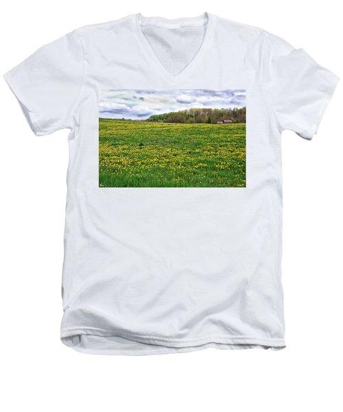 Dandelion Field With Barn Men's V-Neck T-Shirt
