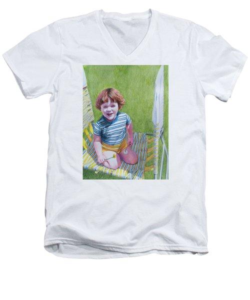 Dandelion Girl Men's V-Neck T-Shirt by Constance DRESCHER