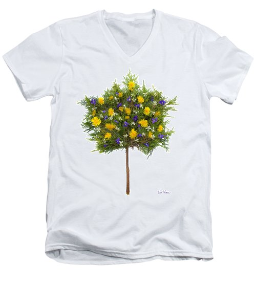 Dandelion Violet Tree Men's V-Neck T-Shirt by Lise Winne