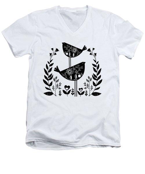 Danish Birds Of Good Luck And Good Life Men's V-Neck T-Shirt