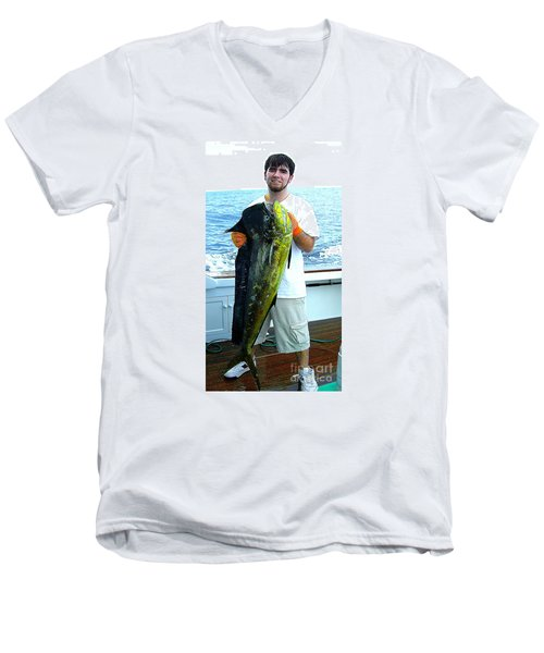 Danny Caught A Huge Dolphin Fish Men's V-Neck T-Shirt by Merton Allen