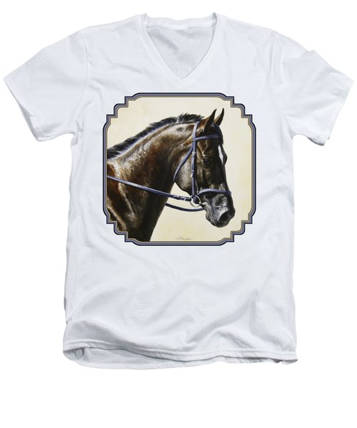 Dark Bay Dressage Horse Phone Case Men's V-Neck T-Shirt