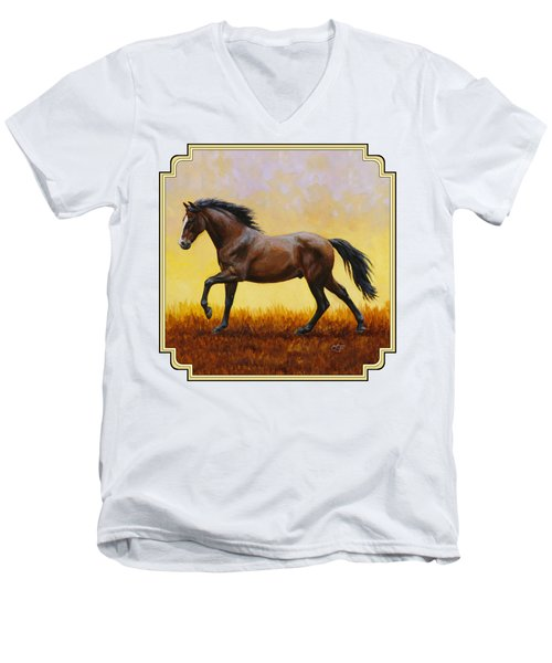 Dark Bay Running Horse Yellow Men's V-Neck T-Shirt