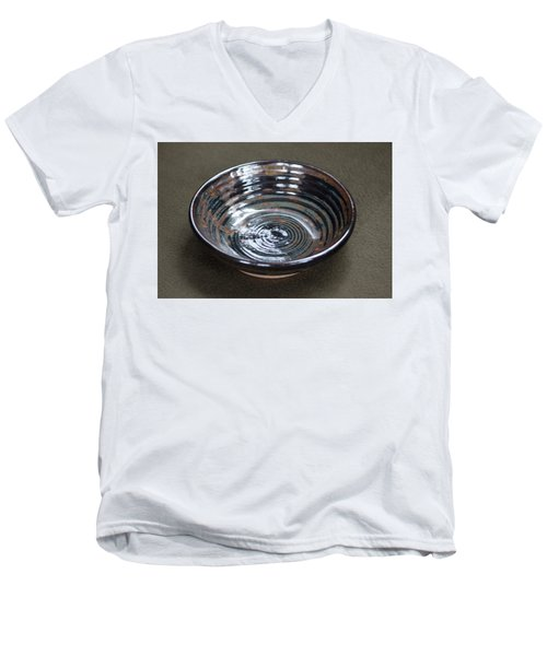 Dark Brown And Red Ceramic Bowl Men's V-Neck T-Shirt by Suzanne Gaff