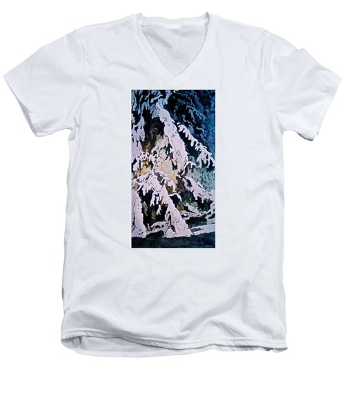 Men's V-Neck T-Shirt featuring the painting Dark Cover by Carolyn Rosenberger