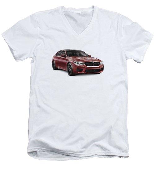 Dark Red 2018 Bmw M5 Performance Car Sport Sedan Art Photo Print Men's V-Neck T-Shirt